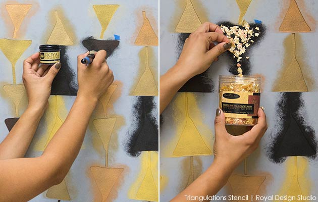 How to stencil a tribal wall finish with the Trangulations stencil from Royal Design Studio