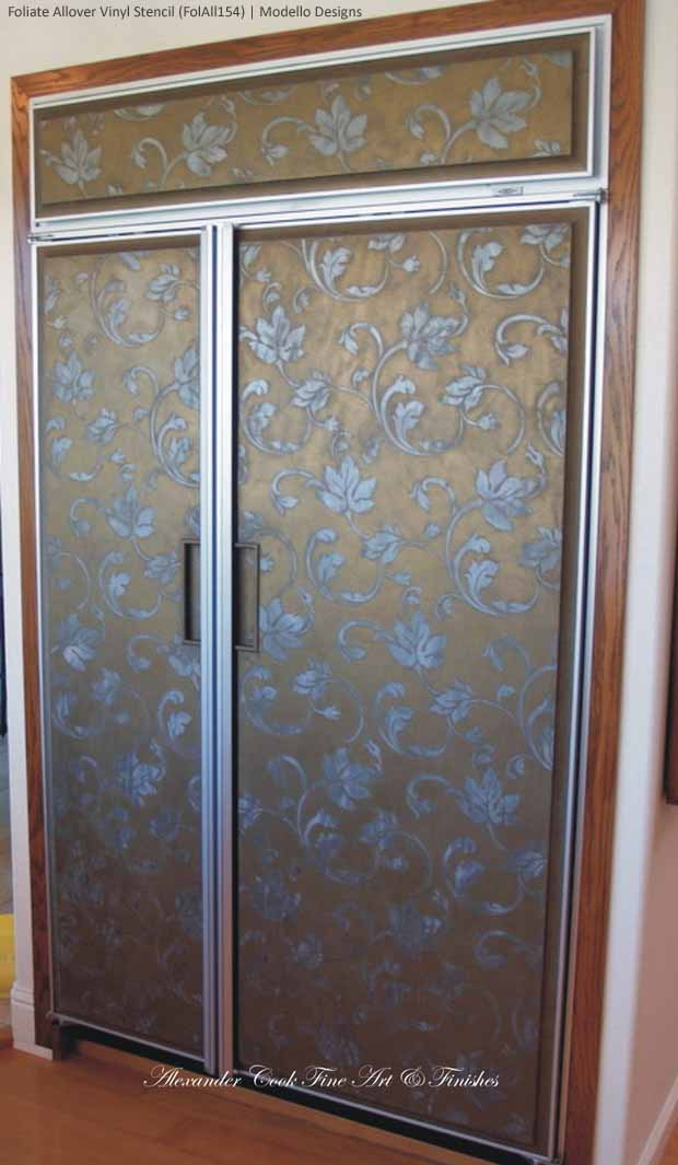 Large Flourish Allover Stencil on Refrigerator Lusterstone via Artist Tamra Cook | Stencil by Royal Design Studio