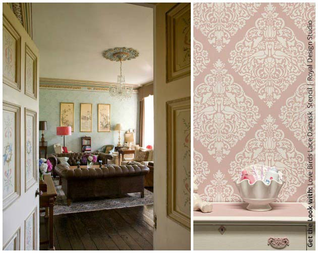 Get the look with Love Birds Lace Damask Stencil by Royal Design Studio | Paint + Pattern