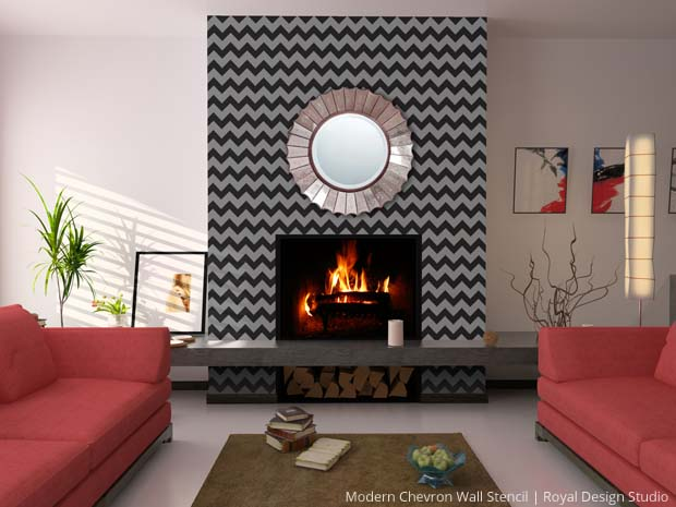 Modern Chevron Stencil Wall Sencil | Royal Design Studio
