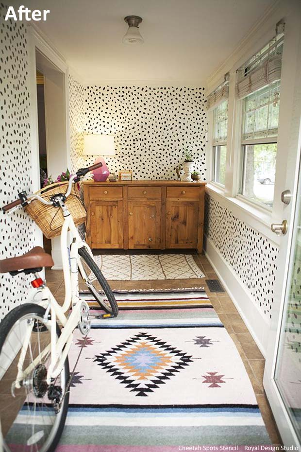 Mud-room Makeover via Making a House a Home | Cheetah Spots Stencil by Royal Design Studio
