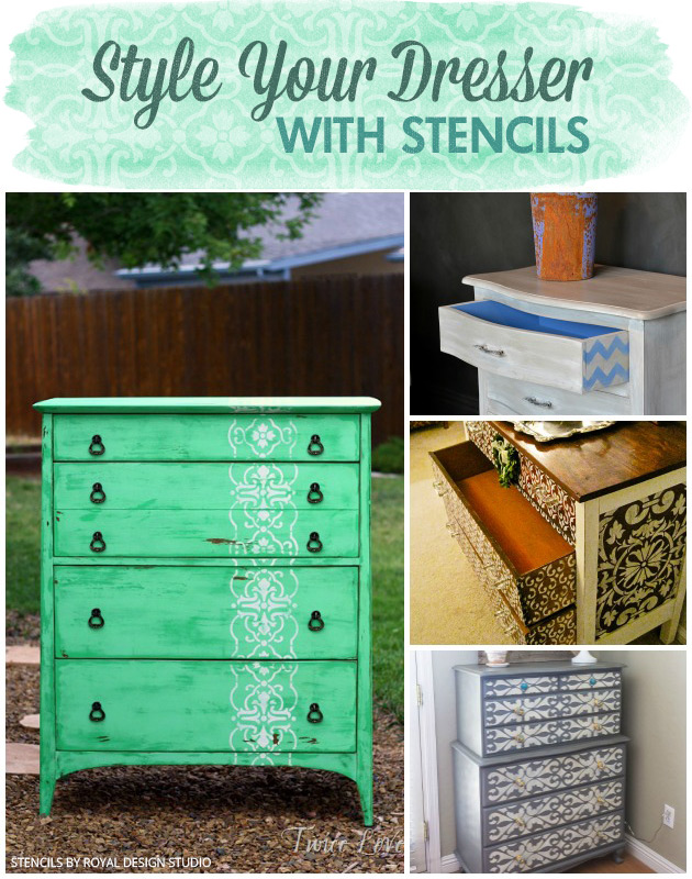 Style your Dresser with Stencils via Paint + Pattern