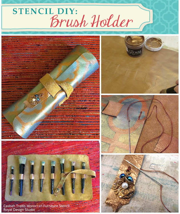 Stencil DIY: Brush Holder