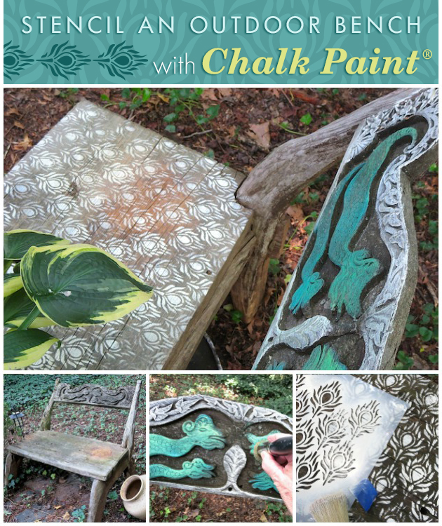 Stencil An Outdoor Bench with Chalk Paint   Paint + Pattern