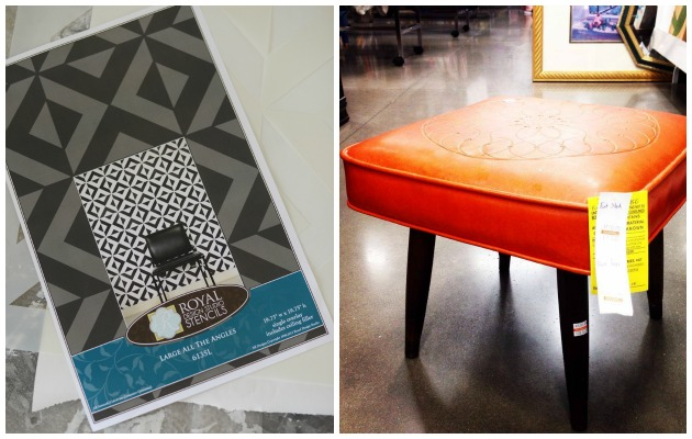 Orange stool and All the Angles Morrocan Stencil by Royal Design Studio | Paint + Pattern