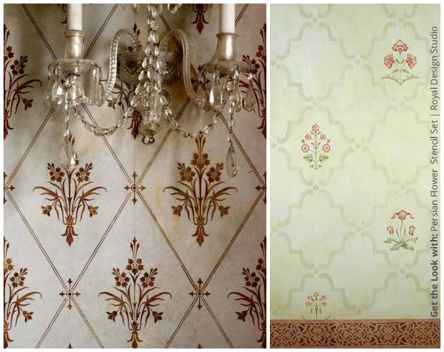 Get the look of an Irish Asthete with Persian Flower Stencil by Royal Design Studio | Paint + Pattern