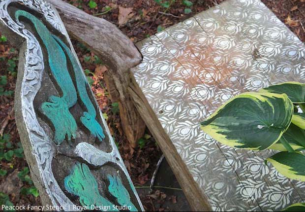 Stencil An Outdoor Bench With Chalk Paint 174 Paint Pattern