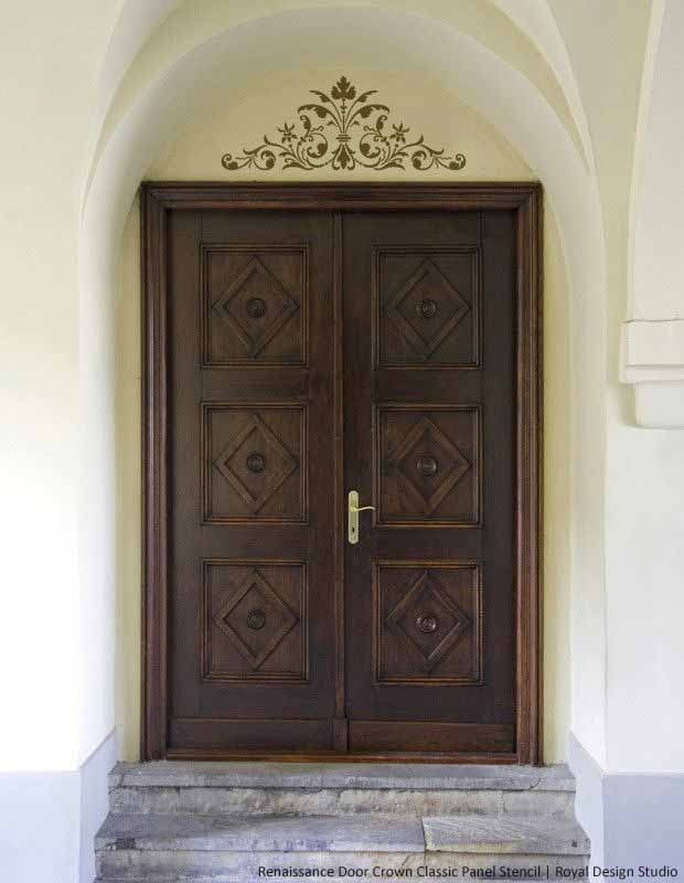 Stencil to Enhance Door Entrance with Renaissance Door Crown Classic Panel Stencil | Royal Design Studio