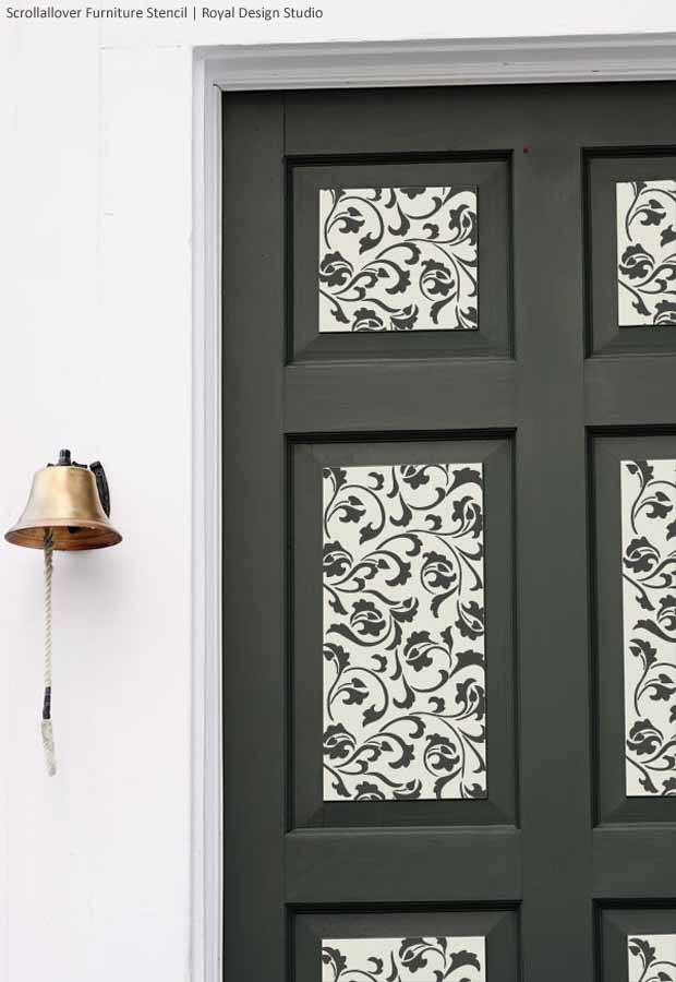 Interior Design Furniture Stencils ~ Door decorations with stencils paint pattern