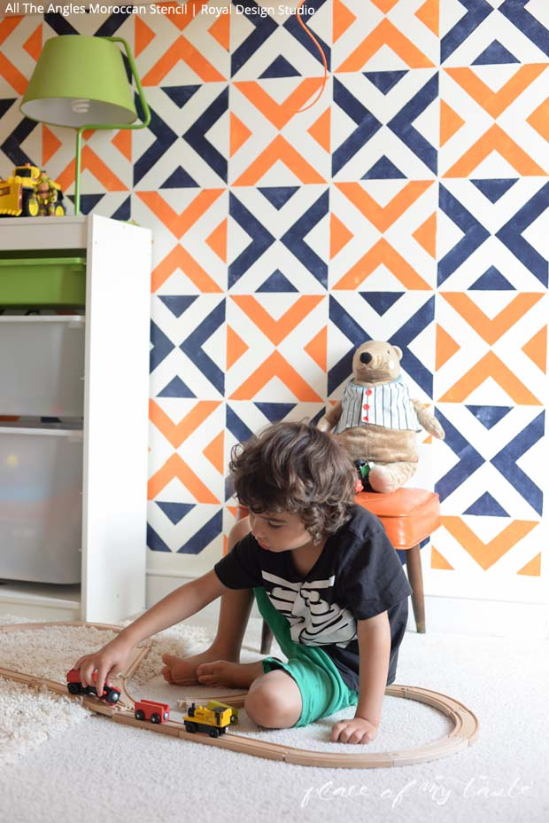 An Accent Wall Stenciled in a Boys Room via Place of My Taste   Paint + Pattern