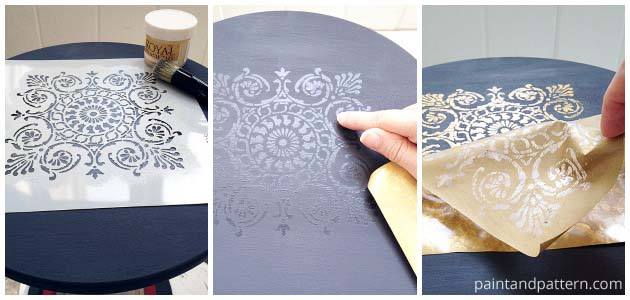 Stenciling with Gold Foil on Side Table DIY | Paint + Pattern