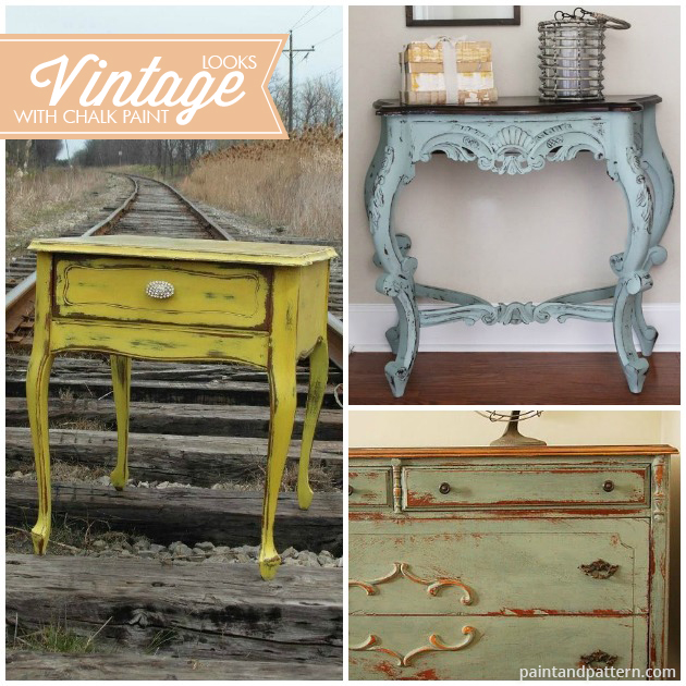 Vintage style furniture painting with Chalk Paint® decorative paint. Pretty pics via Paint and Pattern