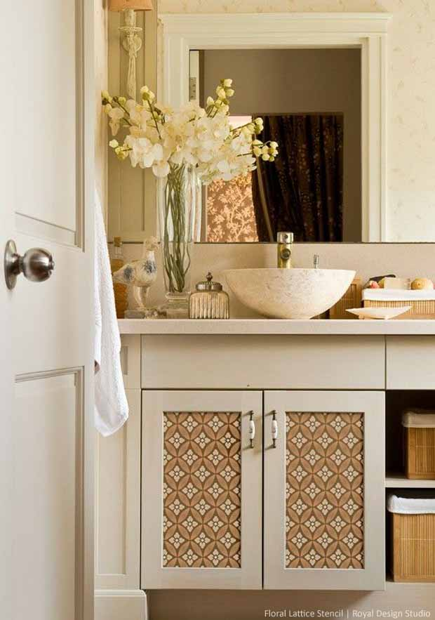 Stenciled Cabinet Shutters with Floral Lattice Stencil | Royal Design Studio