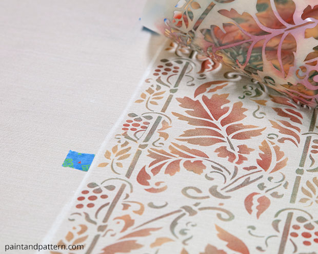 Stenciled autumn table cloth DIY | Brocade Border Fall Stencil by Royal Design Studio | Paint + Pattern