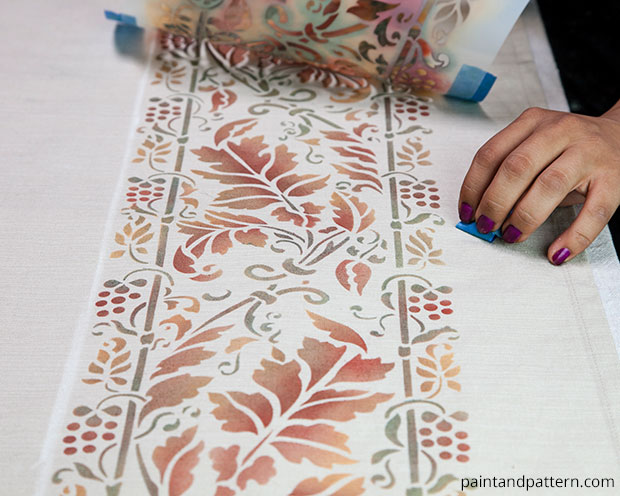 Thanksgiving Table Cloth DIY | Brocade Border Fall Stencil by Royal Design Studio | Paint + Pattern