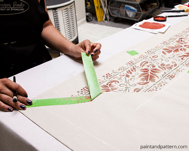 Fall Table Cloth DIY | Brocade Border Fall Stencil by Royal Design Studio | Paint + Pattern
