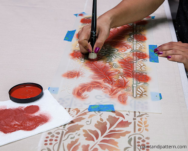 Fall Tablecloth DIY | Brocade Border Fall Stencil by Royal Design Studio | Paint + Pattern