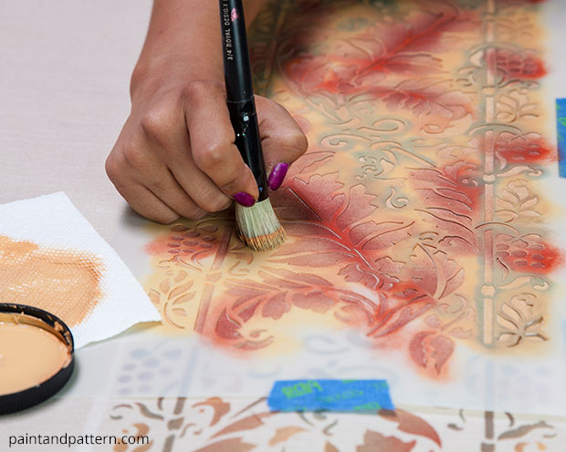 Thanksgiving DIY: Stencil an autumn table cloth | Brocade Border Fall Stencil by Royal Design Studio | Paint + Pattern