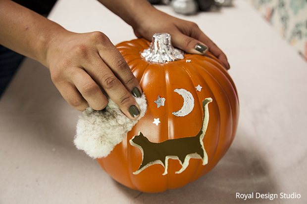 cat and moon stenciled pumpkin