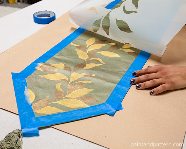 Stencil DIY: Fall Table Runner | Elegant Fruit Branch Fall Stencil by Royal Design Studio | Paint + Pattern