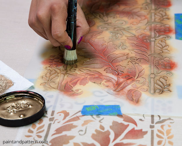 Fall Table Cloth DIY with Brocade Border Fall Stencil by Royal Design Studio | Paint + Pattern