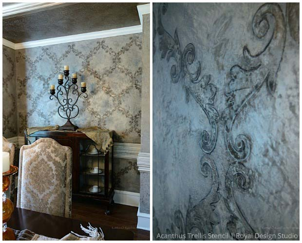 Decorative Painting via Tiffany Alexander | Acanthus Trellis Stencil by Royal Design studio