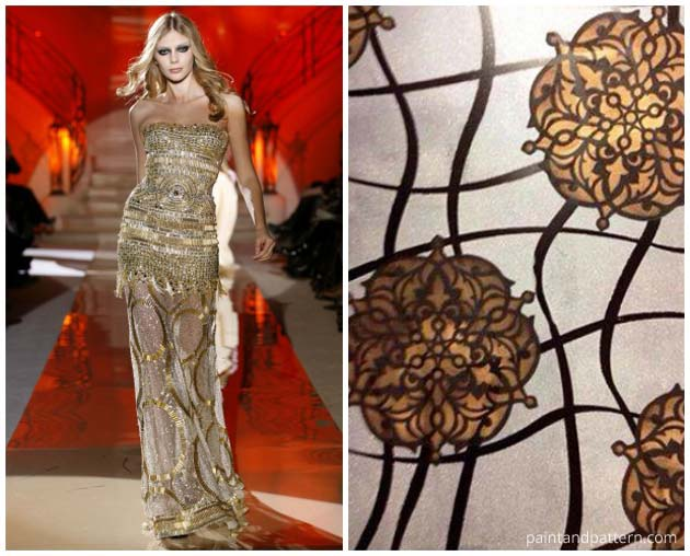 Stenciled finish with the Ankara Impression Stencil Set inspired by Zuhair Murad Dress | Paint + Pattern