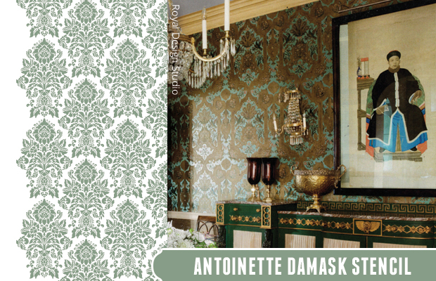 Get the look with Antoinette Damask Stencil by Royal Design Studio | Paint + Pattern