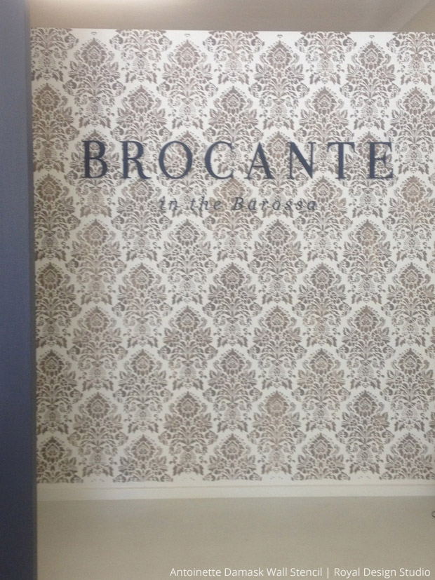 Stencil Stockist: Brocante in the Barossa | Antoinette Damask Wall Stencil by Royal Design Studio