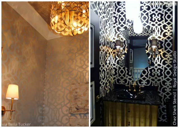 Glamorous Powder Room with Chez Sheik Stencil by Royal Design Studio | Paint + Pattern