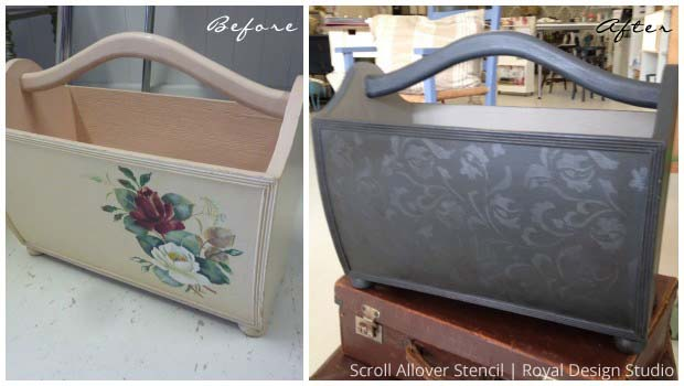Before & After Magazine Caddy Stenciling | Scroll Allover Furniture Stencil by Royal Design Studio