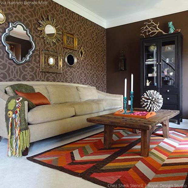Global Chic Living Room with Chez Sheik Stencil by Royal Design Studio | Paint + Pattern