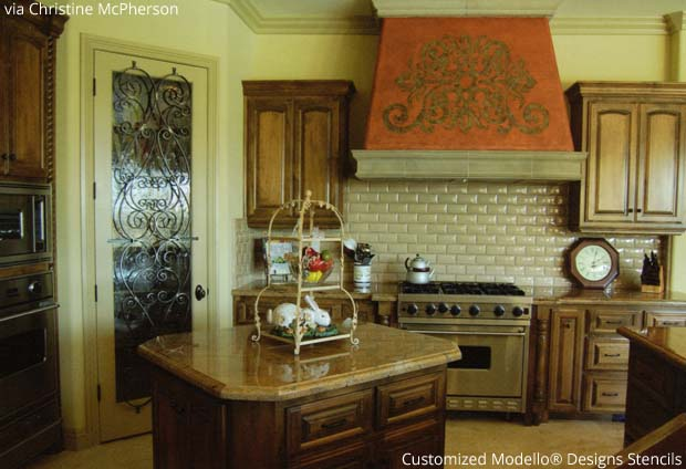 Customized Modello® Stencil on Range Hood via Christine McPherson | Paint + Pattern