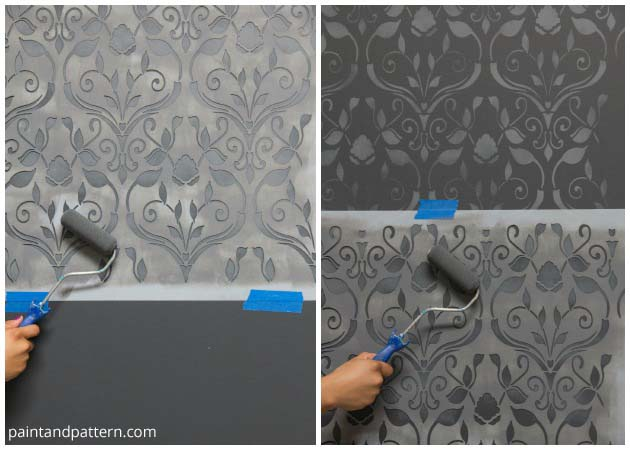 Create a faded look with Delightful Damask Stencil by Royal Design Studio | Paint + Pattern