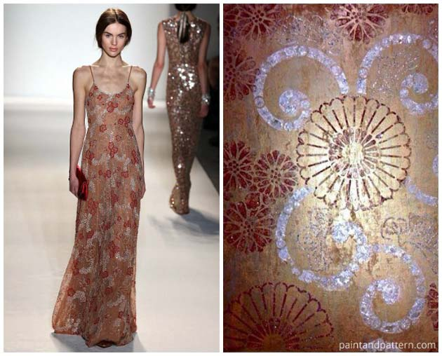 Jenny Packham inspired a Japanese-flavored finish using the Kyoto Allover Stencil | Paint + Pattern