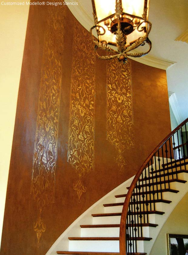 Decorate your stairwell with customized Modello® Designs via Debbie Hayes | Paint + Pattern