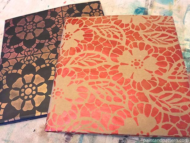 School Book Cover Ideas : Stencil diy back to school book covers paint pattern