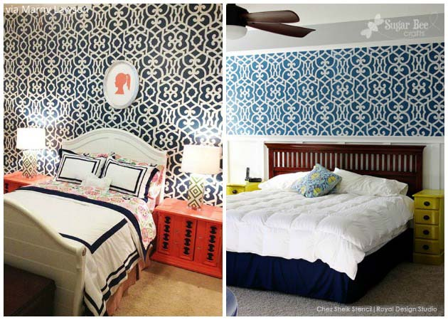 Exotic Bedrooms with Chez Sheik Stencil by Royal Design Studio | Paint + Pattern