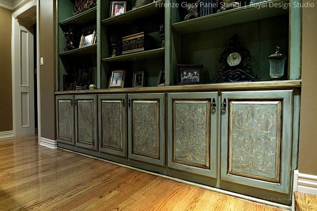 Stenciled Cabinets via Tiffany Alexander |Firenze Classic Panel Stencil by Royal Design Studio