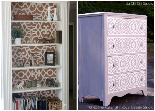 Designer Furniture Pieces with Chez Sheik Stencil by Royal Design Studio | Paint + Pattern