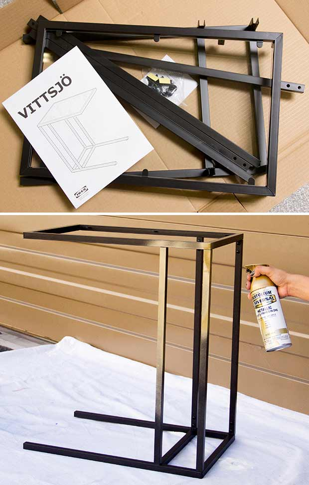 IKEA Vittsjo Table Hack using the Triangulations stencil from Royal Design Studio