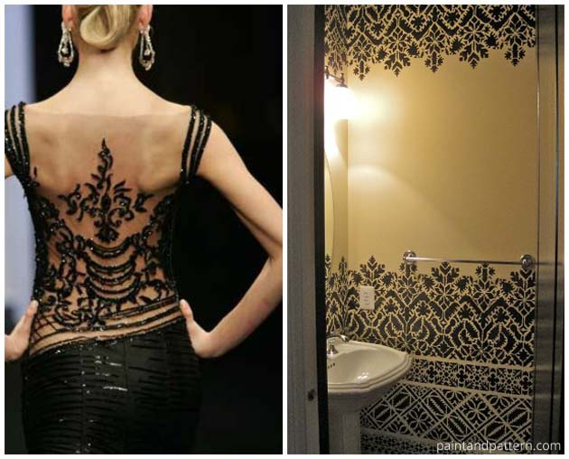 Fashion Inspired Stenciled Bathroom | Paint + Pattern
