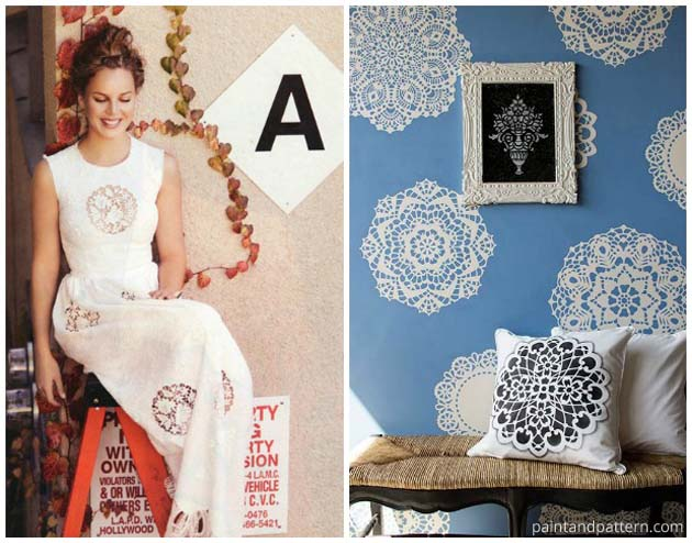 Translate this Dolce & Gabbana Lacy Dress onto your wall finish with our Lace Doily Stencil | Paint + Pattern