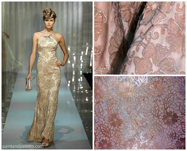 The Fleur de Lace Stencil finish inspired by a Georgio Armani dress | Paint + Pattern