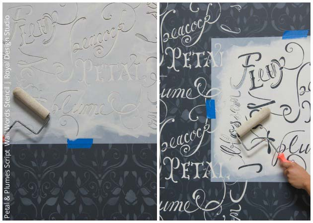 Layering with Petal & Plume Script Wall Stencil by Royal Design Studio | Paint + Pattern