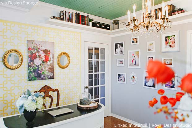 Stencil your Home Office with Linked In Stencil by Royal Design Studio | Paint + Pattern