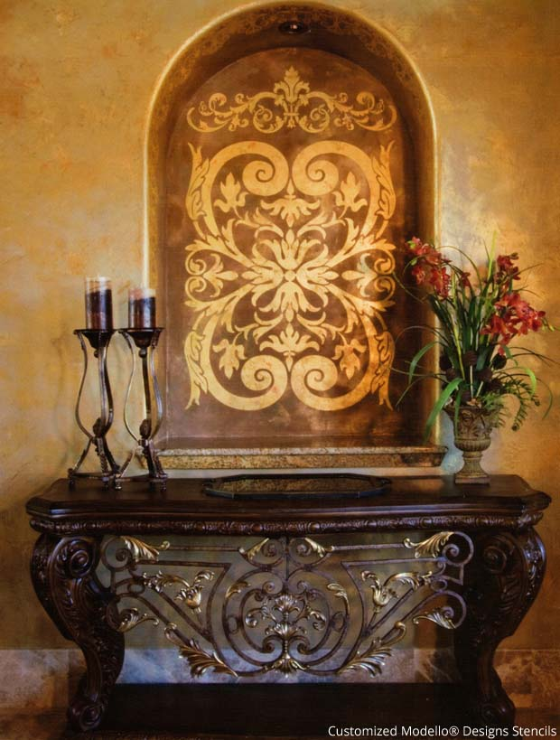 Customized Modello® Stencil for a decorating a niche | Paint + Pattern