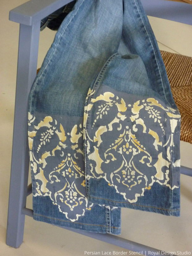 Stenciling on Jeans | Persian Lace Border Stencil by Royal Design Studio