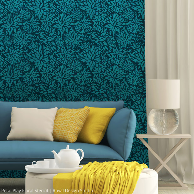 Petal Play Floral Damask Stencil by Royal Design Studio