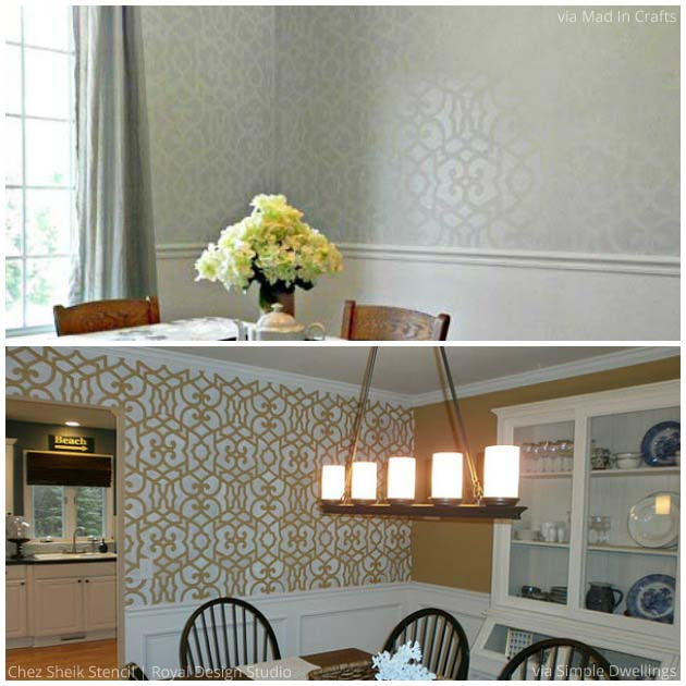 Sophisticated Dining Rooms with Chez Sheik Stencil by Royal Design Studio | Paint + Pattern